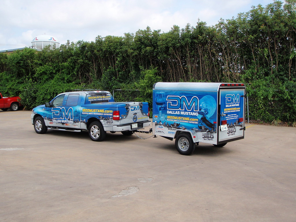 Dallas mustang truck trailer wrap