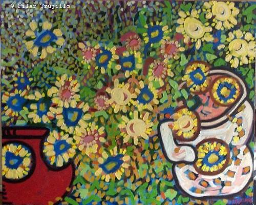 pintura óleo sobre tela flores