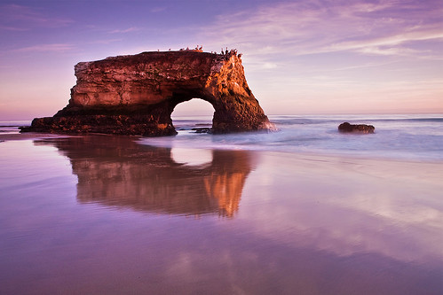 ocean california sunset santacruz reflection beach surf arch naturalbridge lowtide anawesomeshot aplusphoto stephenoachs stephenoachscom
