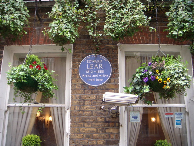 Edward Lear blue plaque - Edward Lear 1812-1888 artist and writer lived here
