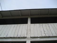 the abandoned railway station: the balcony overlooking the railroad track