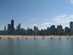 North Avenue Beach skyline view of Chicago E