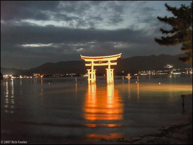 Itsukushima Torii at Night