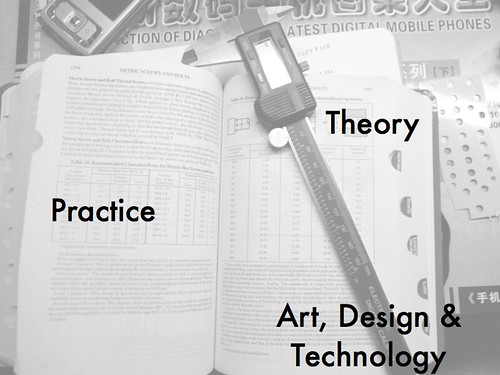 lightened black and white image of a textbook with a slide rule that says Practice, Theory, Art, Design & Technology