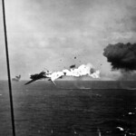 Jap torpedo bomber explodes in air