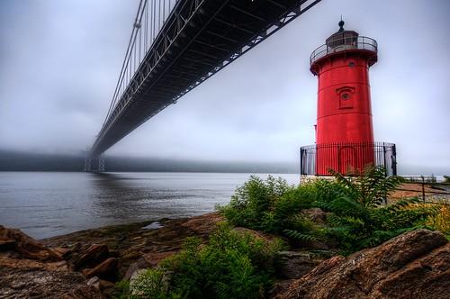 park nyc newyorkcity bridge red lighthouse mist newyork beach fog geotagged newjersey manhattan lane hudsonriver gothamist georgewashington hdr gwb fortlee georgewashingtonbridge riverscape mudpig stevekelley stevenkelley