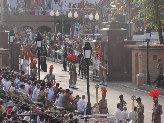 Soldiers getting ready for beating retreat ceremony at Wagah Border, Amritsar