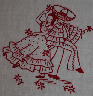 Redwork embroidery mexicana couple dancing, mom's gift | by *mia*