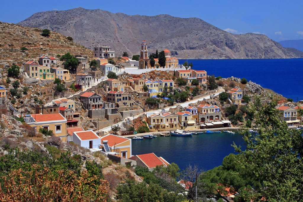 Hills, houses and sea, Symi island