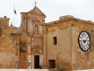 Image of  Cathedral of the Assumption. clock cathedral time citadel victoria rabat gozo thecitadel cathedraloftheassumption ilkastel