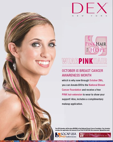 PINK HAIR EXTENSIONS FOR BREAST CANCER