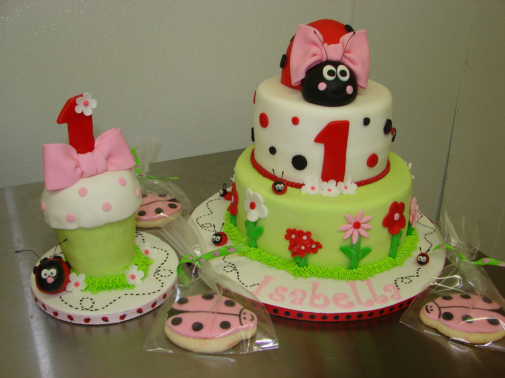 Isabellas Ladybug Theme First Birthday Cake Cookies And Oversized