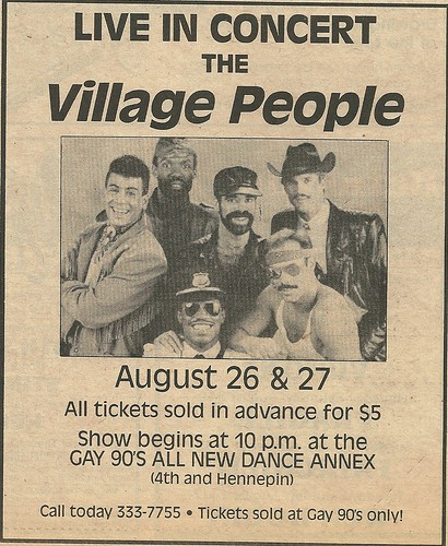 08/26 & 27/85 The Village People @ The Gay 90's Dance Hall Annex, Minneapolis, MN