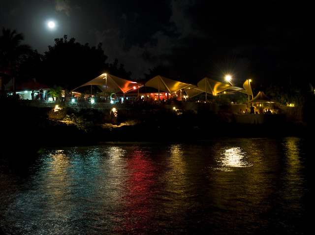 caribbean night colors and full moon