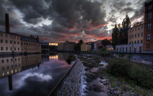 sunset sky reflection clouds river waterfall sweden sverige norrköping hdr gir östergötland industrilandskapet motalaström sigma1020mmf456exdchsm johanklovsjö