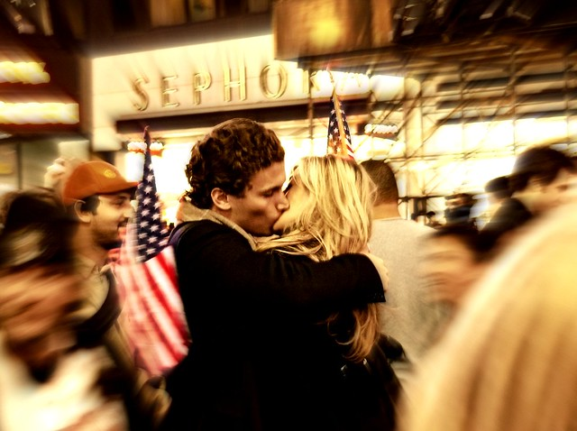 """THE KISS"" (on Election Night, Times Square, NYC)"