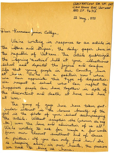 Letter From Soldiers Cam Ranh Bay Vietnam May 22 1970