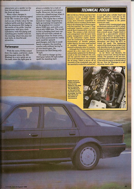 MG Montego EFi Test 1984 2