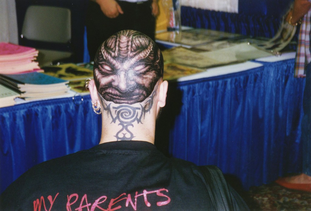 Head tattoo by paul booth at san diego convention 1994 a for Tattoo expo san diego