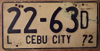 PHILIPPINES, CEBU CITY 1972 LIGHT WEIGHT AUTO plate