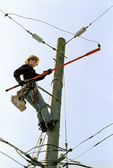 mast(0.0), abseiling(0.0), electrical supply(1.0), lineman(1.0), overhead power line(1.0), electricity(1.0),