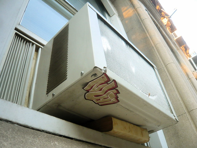 Ac window unit supported by bible this is attached to a for Window unit ac