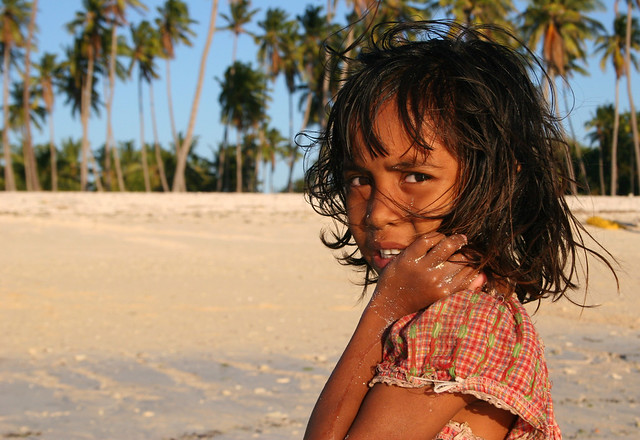 Portrait of a girl on a beach in Timor, Indonesia.