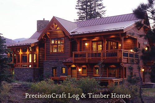 Exterior view custom timber frame home located in for Custom a frame homes
