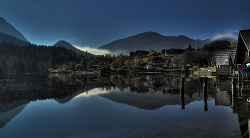 autumn lake reflection austria 2008 hdr ausztria grundlsee salzkammergut ősz