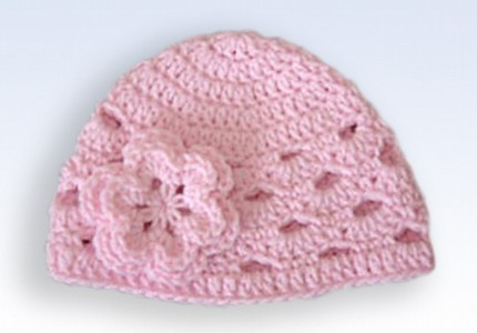 Crochet Flower For Hat : Crochet Beanie Hat Cap With Flower - Pink Flickr - Photo Sharing!