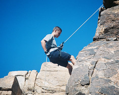 jumping(0.0), mountain(0.0), free solo climbing(0.0), adventure(1.0), sports(1.0), recreation(1.0), outdoor recreation(1.0), mountaineering(1.0), rock climbing(1.0), sport climbing(1.0), extreme sport(1.0), abseiling(1.0), climbing(1.0), blue(1.0), rock(1.0),