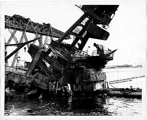 USS Arizona BB39 Foremast structure, conning tower, and ...