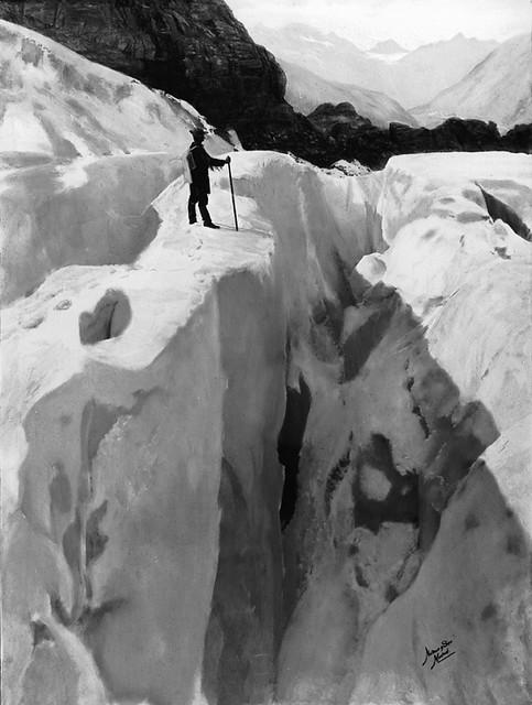 Asulkan Glacier, Glacier Park, BC, painted photograph, 1890