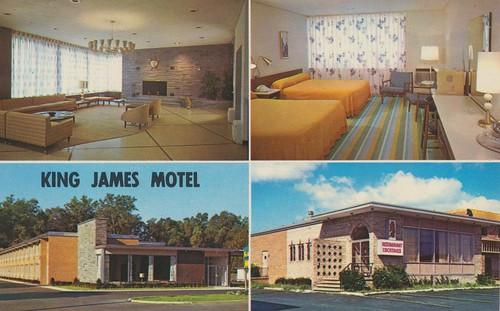 newyork vintage interior postcard motel rochester lobby kingjames fourview