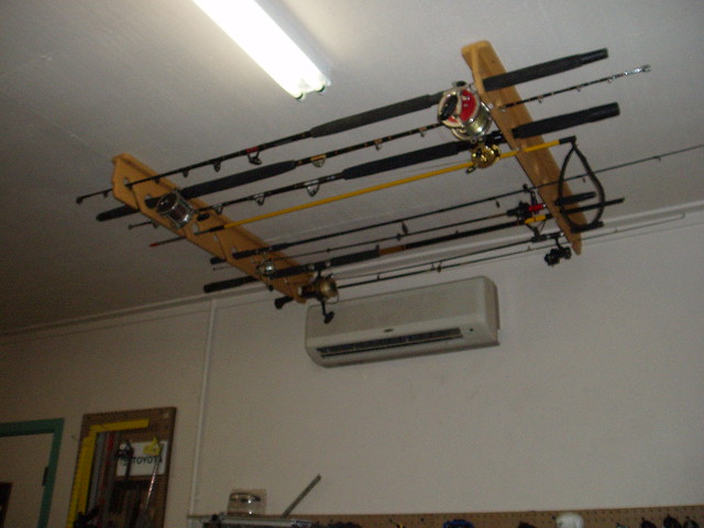 Fishing rod rack on the ceiling flickr photo sharing for Fishing rod ceiling rack
