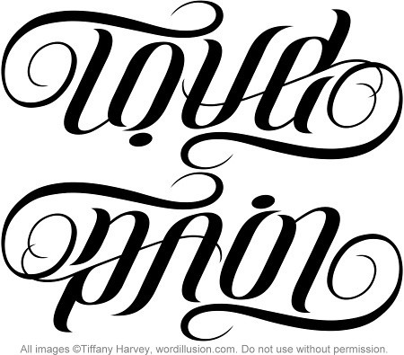 """""""Love"""" & """"Pain"""" Ambigram"""