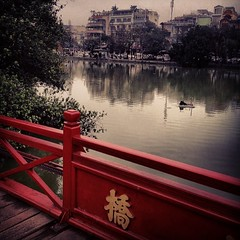 Bridge at hoàn kiêm lake #vietnam #hanoi #bridge #red #sawnoturtles