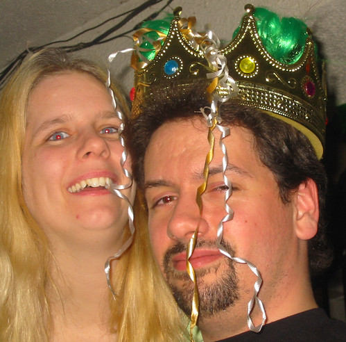 20070317 - Carolyn's birthday and St. Patrick's Day party - 0 - wearing crown - Carolyn, Clint - 115-1541