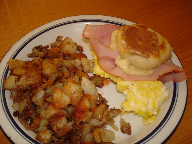 ham eggs and biscuits