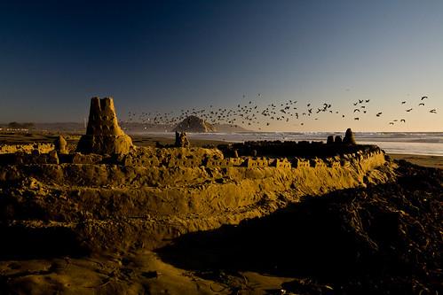 Sandcastle at Sunset on Morro Strand State Beach, Morro Bay, CA