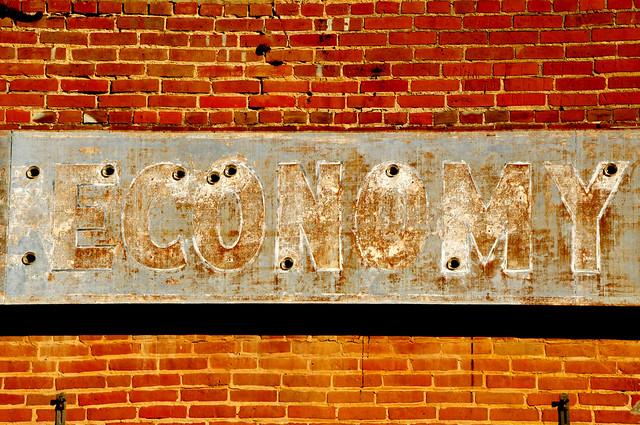 Crumbling Broken Bad Economy - Old Neon Sign Collinsville Texas Red Brick DSC_0556