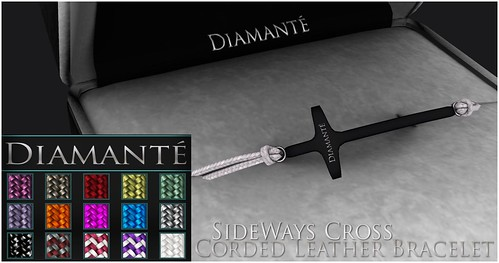 :Diamante: SideWays Cross Corded Leather Bracelet by Alliana Petunia