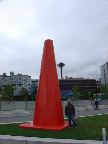 A larger-than-life traffic cone