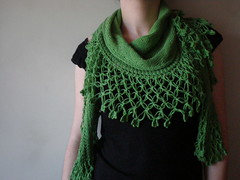 Presence - Green  Knitted/Crocheted shawl/scarf