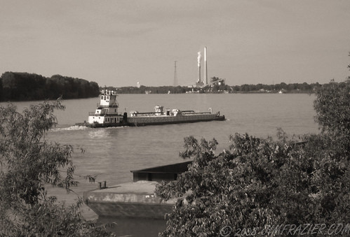 road trip travel blackandwhite bw water monochrome june sepia river landscape scenery commerce technology riverside mechanical kentucky ky ships engineering sunny manipulation roadtrip fair clear equipment business machinery smokestacks commercial transportation infrastructure desaturated riverfront machines traveling powerplant shipping 2008 barge q3 ohioriver apparatus owensboro devices riparian towboat oldified 20080608kentuckyswing totowboats