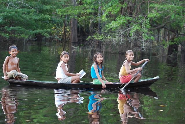 Children on the Rio Negro Amazonas  Brazil