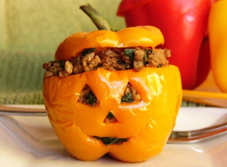 Halloweegan Stuffed Pepper