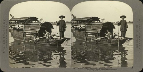 ster_w_00130 : Typical river sampan, Canton, China.