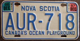 NOVA SCOTIA 1987 license plate