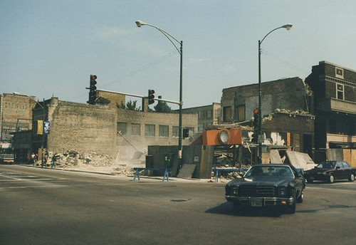 The demolition of the Marquette Theatre building at West 63rd Street and South Kedzie Avenue. Chicago Illinois. August 1987. by Eddie from Chicago